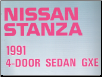 1991 Nissan Stanza 4-Door Sedan GXE Factory Wiring Diagrams (SKU: WD1E0U12U0)