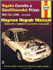 1993 - 2002 Toyota Corolla & Geo / Chevrolet Prizm, Haynes Repair Manual (SKU: 1563924552)