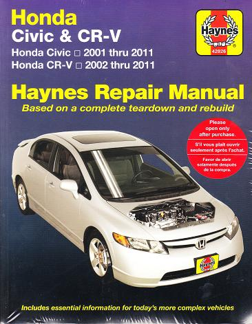 2001 2011 honda civic and cr v haynes repair manual rh autorepairmanuals biz 2006 Honda Civic Torque Specifications Honda Civic Coupe