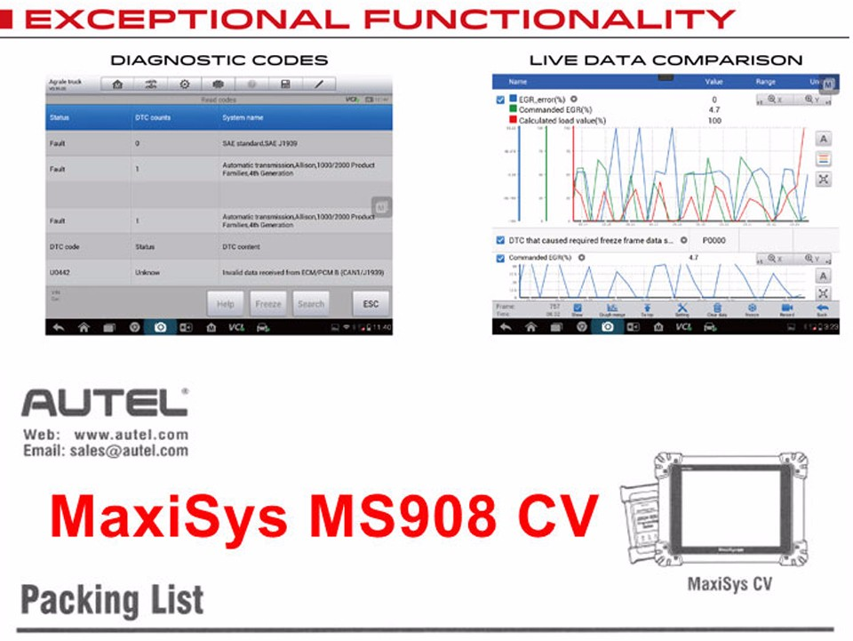 autel maxisys 908 cv  commerical vehicle  diagnostic system heavy trucks