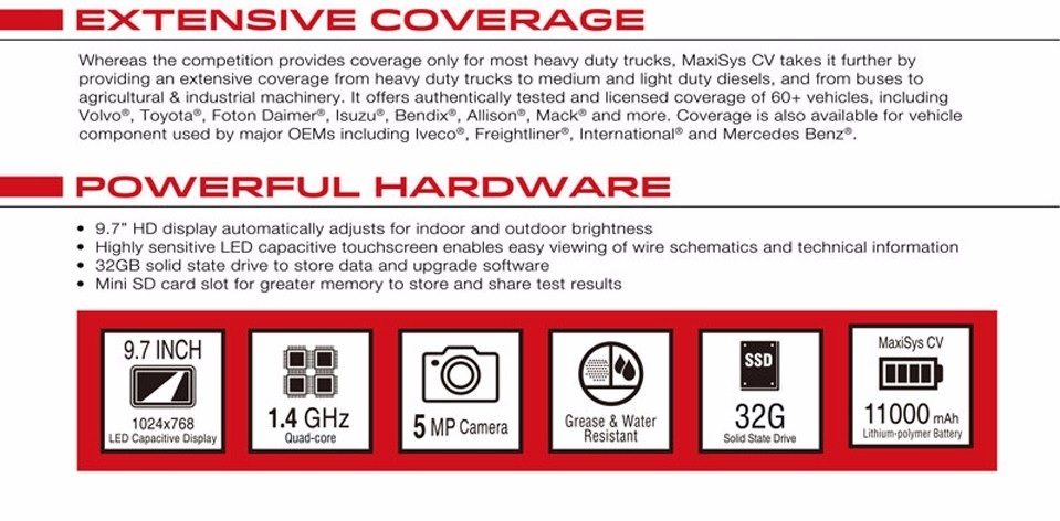 autel maxisys 908 cv  commerical vehicle  diagnostic
