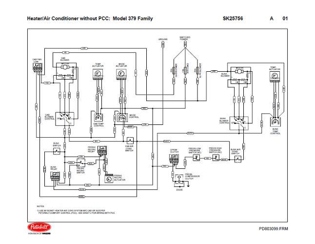 Peterbilt 379 Family HVAC Wiring Diagrams with without PCC