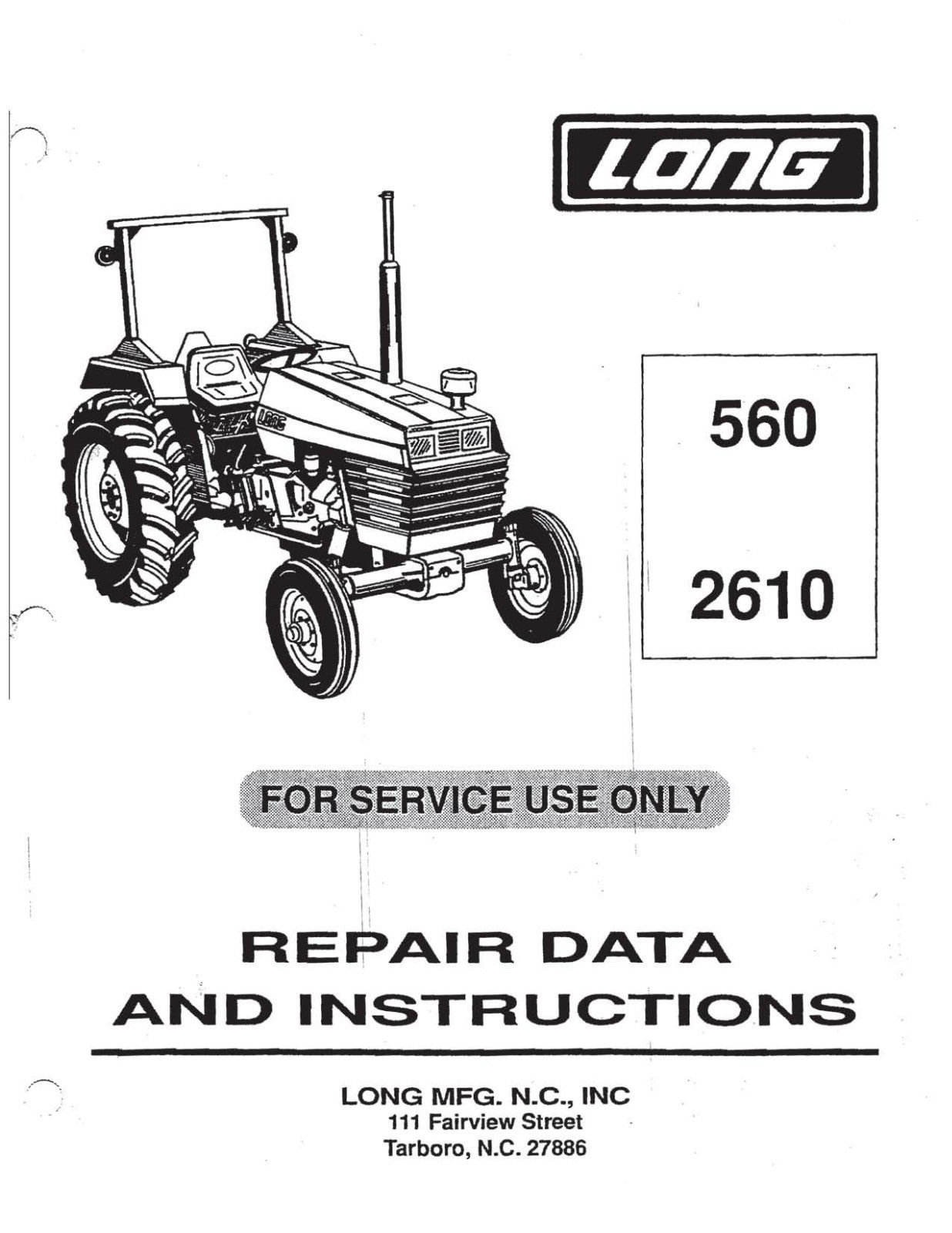 long 2610 long 260, 310, 1580 tractor service manual wiring diagram for 2610 long tractor at soozxer.org