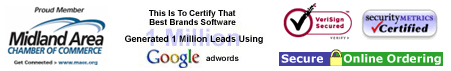 Midland, MI Chamber Commerce Member, Google Adwords Award, Secure Online Ordering